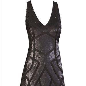 Great Black DRESS w/SEQUIN ON MESH w/BACK DETAIL.